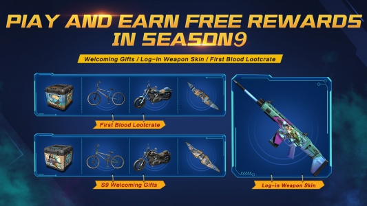FREE skins in S9: Welcoming Gifts / Log-in Weapon Skin / First Blood Lootcrate!
